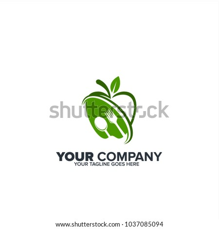 Healthy icon with apple and abstract figure, Apple health care vector logo template,