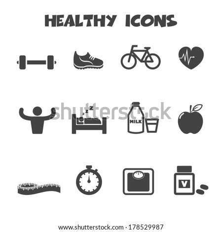 healthy icons  mono vector