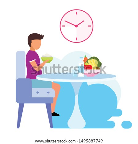 Healthy kids nutrition flat vector illustration. Teenager eating dairy products isolated cartoon character on white background. Young lacto-vegetarian consuming fresh fruits and vegetables