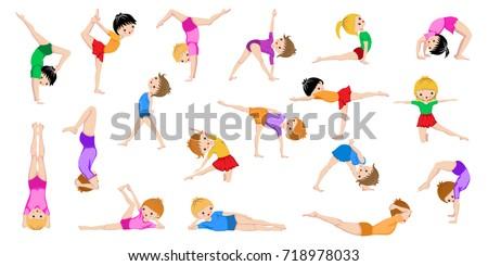Healthy Kids Yoga poses, Gymnastics, healthy lifestyle, Yoga children workout set, Sport, Asana. Isolated on white background.
