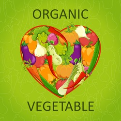 Healthy life - heart shape with vegetables.