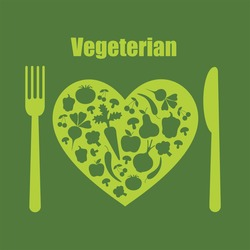 healthy life - heart shape with vegetables. vector illustration