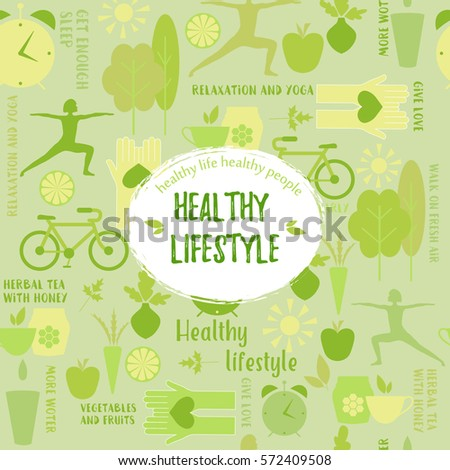 Healthy life style in flat design with food and sport icons. Vector  healthy lifestyle pattern