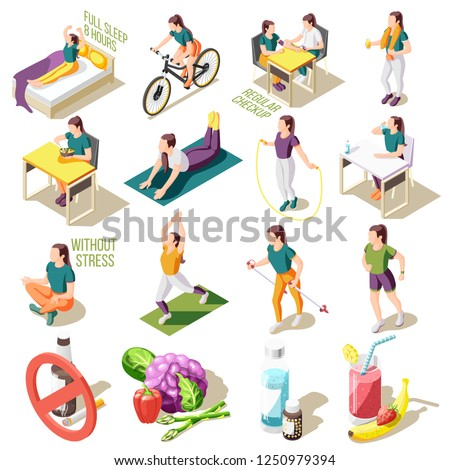 Healthy life style isometric icons good sleep and nutrition regular check up sports activity isolated vector illustration