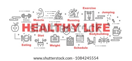 healthy life vector banner design concept, flat style with icons