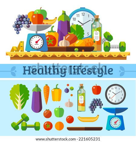Healthy lifestyle a healthy diet and daily routine Vector flat illustration