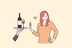Healthy lifestyle and avoiding alcohol concept. Young Woman standing saying no to alcohol refusing of glass of wine with raised hand vector flat illustration