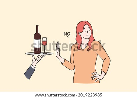 Healthy lifestyle and avoiding alcohol concept. Young Woman standing saying no to alcohol refusing of glass of wine with raised hand vector flat illustration Photo stock ©