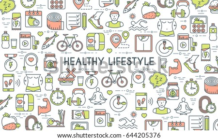 Healthy lifestyle banner. Design template with flat line icons on theme fitness, nutrition and dieting. Vector illustration