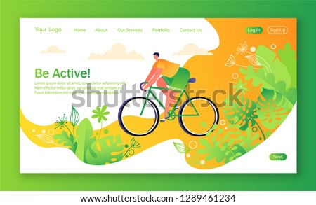 Healthy lifestyle concept for mobile website, web page. Bicycle riding man.   Park with trees and plantrs on background. Flat, cartoon, trendy, vector illustration. Concept of landing page.