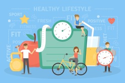 Healthy lifestyle concept. Fresh food and sport exercises are good for health. People standing in front of big scales, apple and juice. Idea of diet and everyday activity. Flat vector illustration