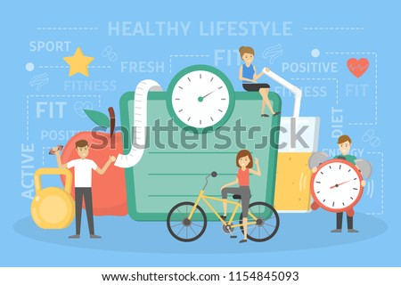 Healthy lifestyle concept. Fresh food and sport exercises are good for health. People standing in front of big scales, apple and juice. Idea of diet and everyday activity. Flat vector illustration - Shutterstock ID 1154845093