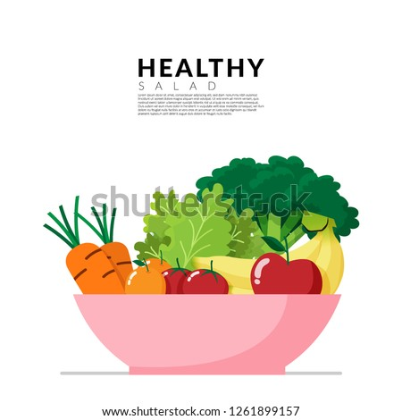 Healthy lifestyle concept. fresh vegetable in colorful blow isolated on white background with copy space. Vector illustration #1261899157