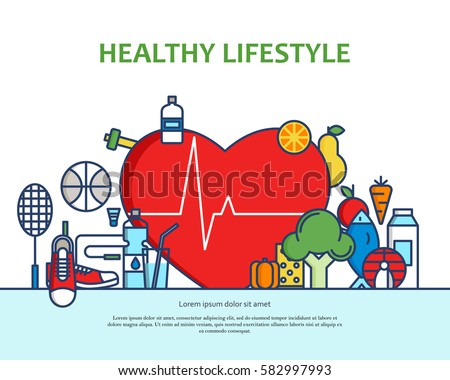 Healthy lifestyle concept with food and sport icons. Natural life vector background with heart shape. Phisycal activity banner for website or magazne. Header, poster, flyer backdrop. Cartoon design.