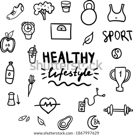 Healthy lifestyle doodle set on white background. Vector hand drawn elements including food, sport equipment and health symbols Photo stock ©