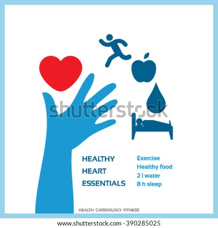 Healthy lifestyle for healthy heart concept vector