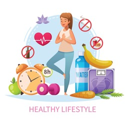 Healthy lifestyle habits cartoon composition with nonsmoking woman practice stress relieving yoga 8h sleep diet vector illustration