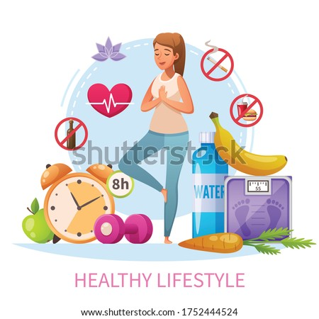 Healthy lifestyle habits cartoon composition with nonsmoking woman practice stress relieving yoga 8h sleep diet vector illustration  Сток-фото ©