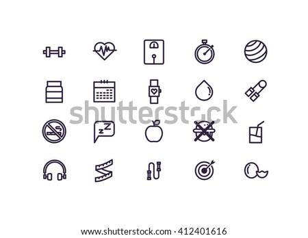 healthy lifestyle icon set vector.