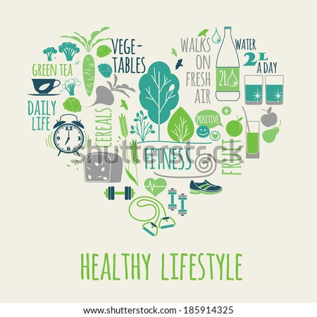 healthy lifestyle icons set in