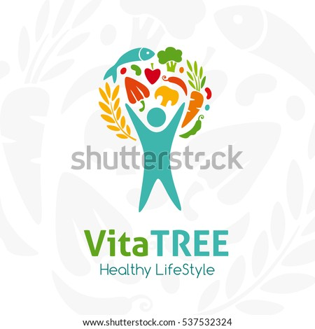 Healthy lifestyle logo. Human with raw food. Vector icon template for vegan restaurant, diet menu, natural products, fitness club, family farm. Light background