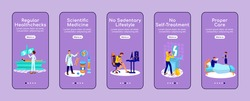 Healthy lifestyle onboarding mobile app screen flat vector template. Medical attention. Walkthrough website steps with characters. UX, UI, GUI smartphone cartoon interface, case prints set