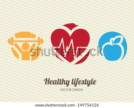 healthy lifestyle over lineal background vector illustration