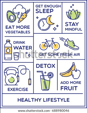 Healthy lifestyle poster, dieting, fitness and nutrition.
