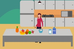 Healthy lifestyle vector concept: Young woman making fruit salad in the kitchen for breakfast