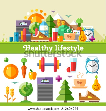Healthy lifestyle. Vector flat icon set, illustration: sport, running, exercise, gymnastic, walking in woods, fresh air, proper nutrition, healthy food, fruits, vegetables, vitamins, cereals, schedule