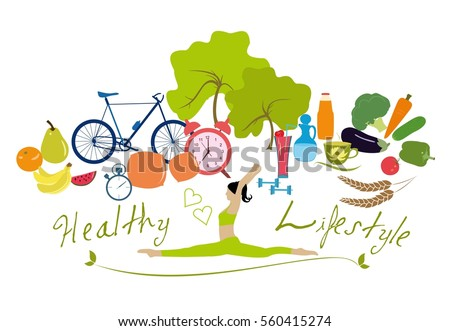 Healthy lifestyle vector illustration concept.  Woman doing exercise,fitness, activity, diet.  Young woman practices stretching.