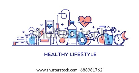 Healthy Lifestyle Vector Illustration, Dieting, Fitness & Nutrition.