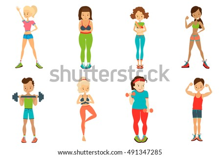 Healthy Lifestyle Vector People Set Illustration with Fitness People. Colorful Healthy Lifestyle Vector People. Isolated Healthy Lifestyle Vector People Collection. Healthy Lifestyle Vector People