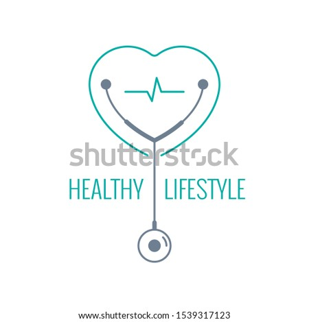 healthy lifestyle words, stethoscope symbol and heart symbol