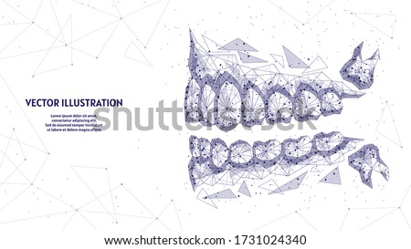 Healthy man jaw, mouth close-up view from the side. Correct bite, occlusion, molar. Concept of dentistry, orthodontics, dentist, wisdom tooth. 3d low poly wireframe isolated vector illustration. Stockfoto ©