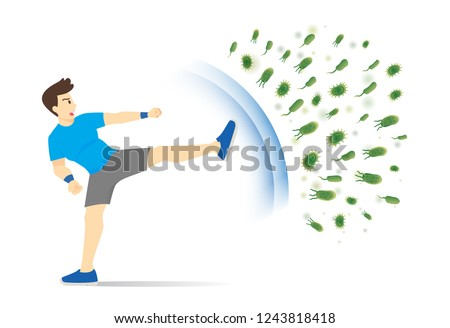 Healthy man reflect Bacteria attack with kick. Concept illustration about boost Immunity with Workout.