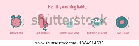 Healthy morning habits icon collection. Daily routine. Tracker stickers. Early wake up, light exercises, nutritious breakfast and favorite music. Isolated vector illustration. Banner vector template Stockfoto ©