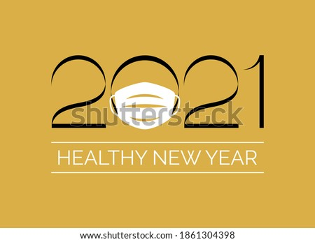 Healthy New Year 2021 inscription with coronavirus mask on a gold background vector. Happy New Year 2021 sign with protective face mask on a golden background. New year eve 2021 with respirator vector