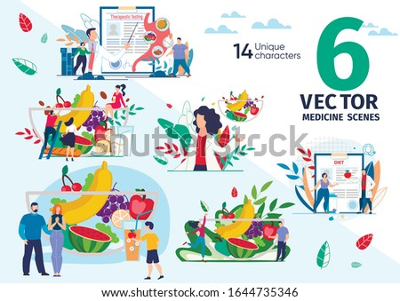 Healthy Nutrition and Dieting, Therapeutic Fasting for Weight Loss, Ration from Natural Food Trendy Flat Vector Scenes Set. Nutritionist, Fat People, Family Members Bowl with Fruits Illustrations Foto stock ©