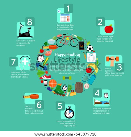 Healthy nutrition and fitness activity vector infographic in round frame form