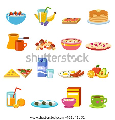 Healthy nutrition, proteins fats carbohydrates breakfast balanced diet, cooking, culinary and nutrition nourishment light food and drinks concept vector