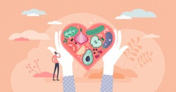 Healthy nutrition vector illustration. Eat vegetables for good shape and health in flat tiny persons concept. Delicious and tasty vitamin full meal with raw food products. Abstract heart shape plate.