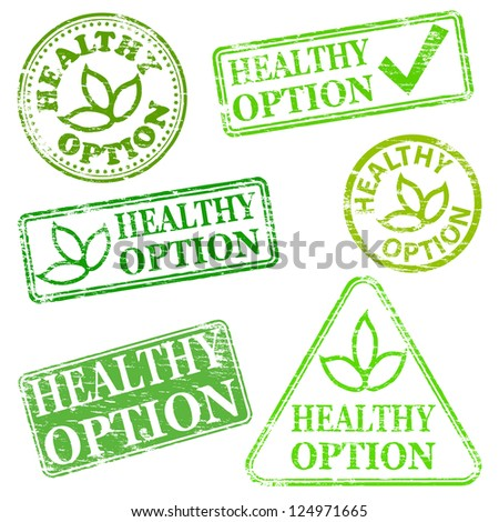 Healthy option.  Grungy rubber stamp vector illustrations