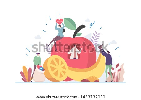 Healthy Organic Diet Nutrition Vector Illustration Concept Showing nutrition expert suggesting healthy diet to patient, Suitable for landing page, ui, web, App intro card, editorial, flyer, and banner