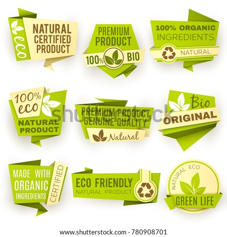 Healthy organic farm fresh product vector stickers. Green vegan food badges and labels. Green bio sticker emblem for eco food illustration