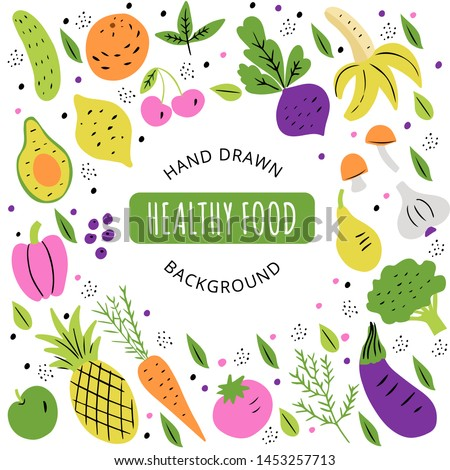 Healthy, organic food set with text space. Fruits and vegetables flat hand drawn design isolated on white background. Doodle style.