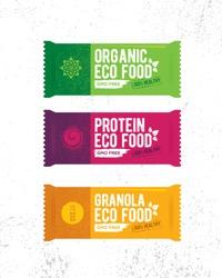 Healthy Organic Snack Bar Illustration. Raw Eco Food Vector Design Concert On Grunge Rough Background.