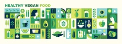 Healthy organic vegan food. Cooking dietary dishes. Vegetarian cafe. Set of icons in flat geometric style. Abstract signs. Vegetables, fruits, green tea, smoothies and salads. Vector illustration.