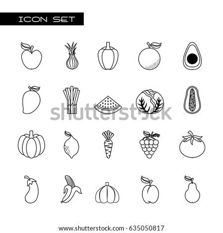 healthy organic vegetarian foods related icons image #635050817