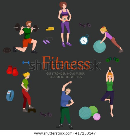 healthy people workout in gym isolated vector illustration, fitness woman and man training exercise, activity sport lifestyle, weight loss girl and boys design background, body fit and wellness